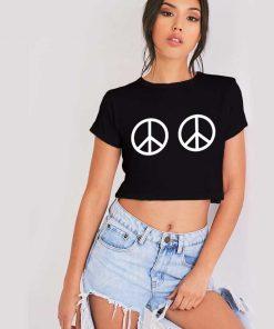 Peace Sign Boobs Crop Top Shirt