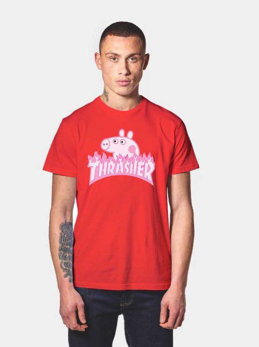 Peppa Pig X Thrasher Parody T Shirt