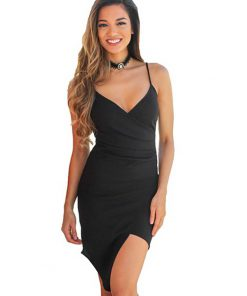 V Neck Backless Cross Ruched Split Bodycon Dress Black