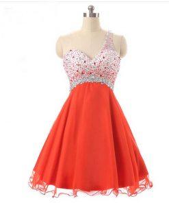 Red Chiffon one shoulder Short Prom Dresses