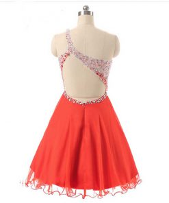 Red Chiffon one shoulder Short Prom Dresses
