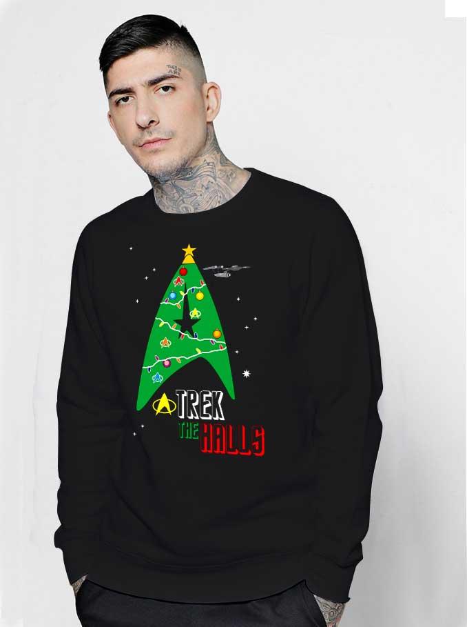 Trek The Halls Star Trek Christmas Sweatshirt Streetwear