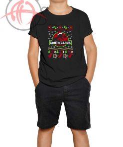 Santa Claws Jurassic Park Ugly Youth T Shirt