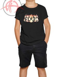 ACDC Flames Black Youth T Shirt