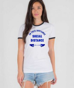 In This Instance Social Distance Logo Ringer Tee