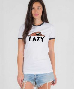 Lazy Sloth Sleepy Animal Cute Ringer Tee