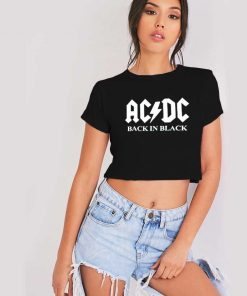 ACDC Band Back In Black Logo Crop Top Shirt