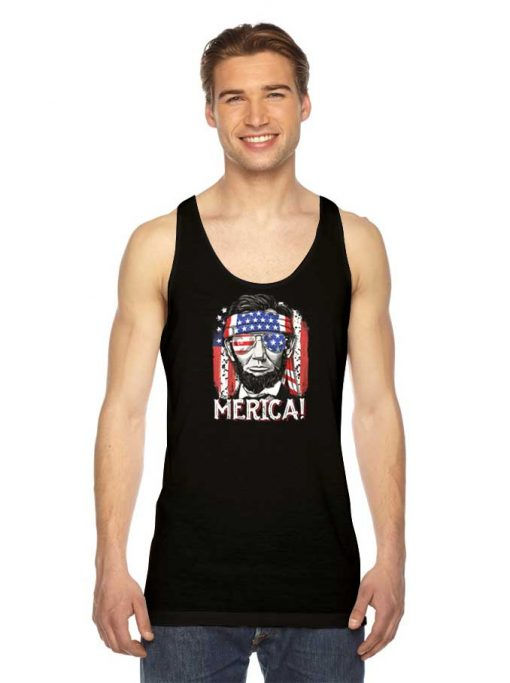 Abraham Lincoln The America Flag Tank Top