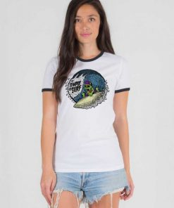 The Temple Of Surf Skeleton Surfing Ringer Tee