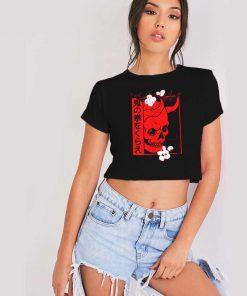 Japanese Demon Art Face Oni Crop Top Shirt