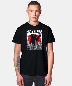 Black Catzilla Japanese Flag Sunset Poster T Shirt