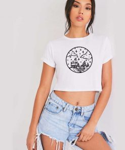 Hogwarts Castle Sky Picture Drawing Crop Top Shirt