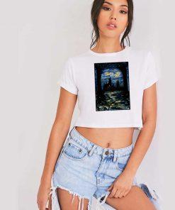 Starry Night Stars Over Hogwarts School Crop Top Shirt