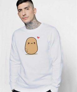 Cute Potato in Love Blushing Sweatshirt