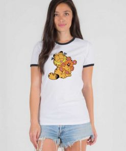 Garfield Hug A Teddy Bear Ringer Tee