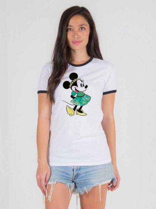 Disney Minnie Mouse Shamrock Dress Ringer Tee