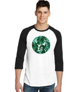 Tropical Palm Leaves Shape Logo Raglan Tee